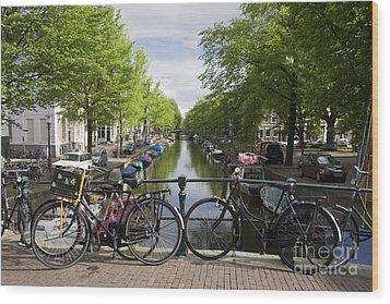 Canal Of Amsterdam Wood Print by Joshua Francia