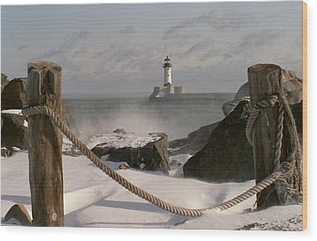 Canal Park Lighthouse Wood Print