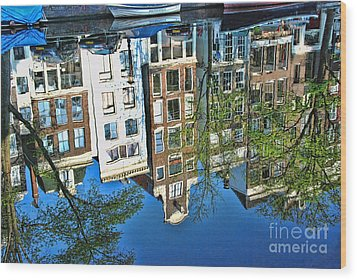 Wood Print featuring the photograph Amsterdam Canal Reflection  by Allen Beatty