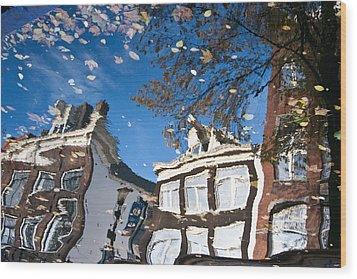 Canal Reflection Wood Print by John Battaglino
