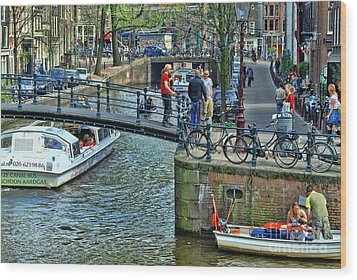 Wood Print featuring the photograph Amsterdam Canal Scene 1 by Allen Beatty