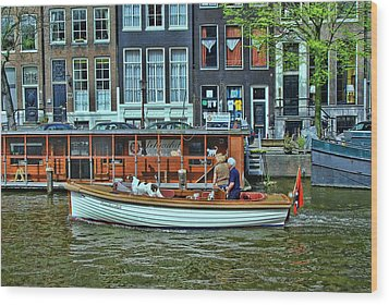 Wood Print featuring the photograph Amsterdam Canal Scene 10 by Allen Beatty