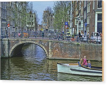 Wood Print featuring the photograph Amsterdam Canal Scene 3 by Allen Beatty