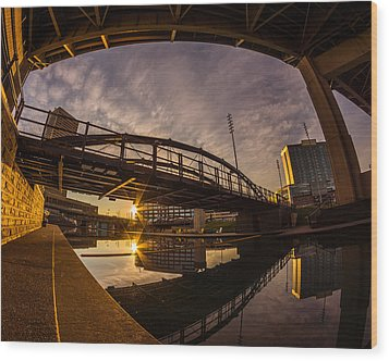 Wood Print featuring the photograph Canalside Dawn No 6 by Chris Bordeleau