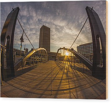 Wood Print featuring the photograph Canalside Dawn No 7 by Chris Bordeleau