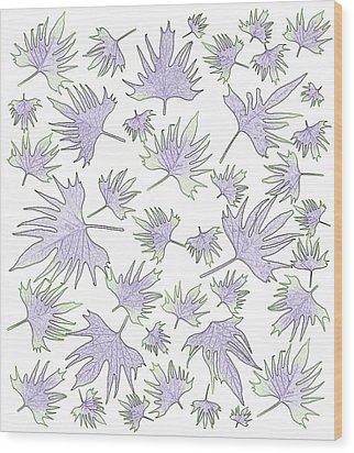 Canary Vine Leaves - Purple And Green Wood Print by Sandra Foster