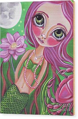 Cancer - Zodiac Mermaid Wood Print by Jaz Higgins