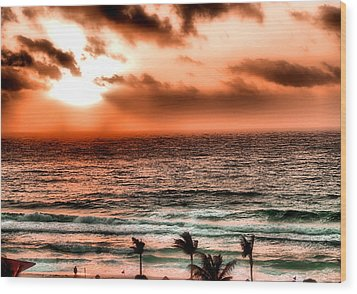 Cancun Sunrise 3 Wood Print by Jimmy Ostgard