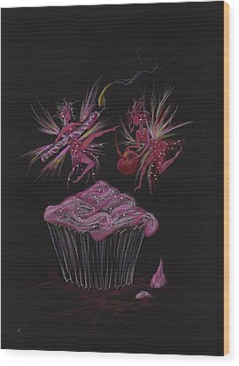Wood Print featuring the drawing Candle Cherry by Dawn Fairies