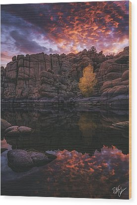 Candle Lit Lake Wood Print by Peter Coskun