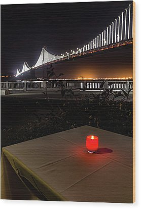 Wood Print featuring the photograph Candle Lit Table Under The Bridge by Darcy Michaelchuk