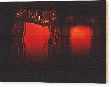 Candle Reflected Wood Print by Barry Shaffer