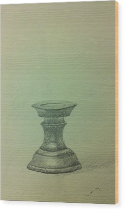 Candle Stand Study Wood Print by Krishnamurthy S