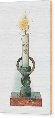 Candle02 Wood Print by Kestutis Kasparavicius