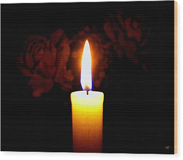 Candlelight And Roses Wood Print by Will Borden
