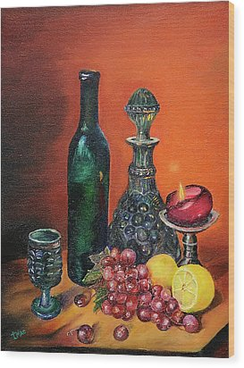 Candlelight Decanter Wood Print