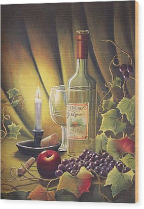 Candlelight Wine And Grapes Wood Print by Diana Miller