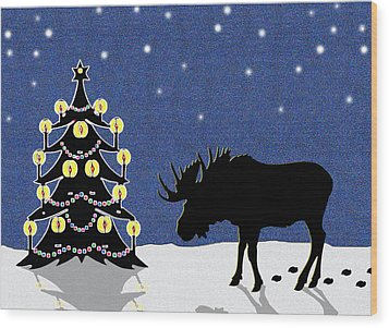 Candlelit Christmas Tree And Moose In The Snow Wood Print by Nancy Mueller