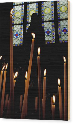 Candles Burning Inside The Basilica Of The Saint Sauveur Wood Print by Sami Sarkis