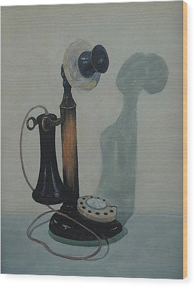 Candlestick Telephone Wood Print
