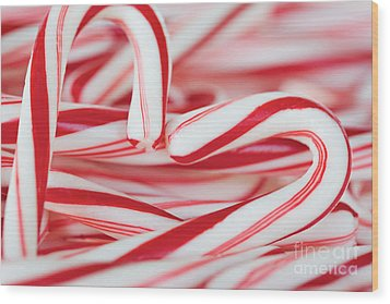 Candy Cane Love Wood Print by Kim Fearheiley