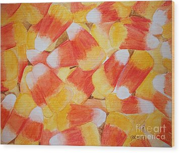 Candy Corn Wood Print by Carol Grimes