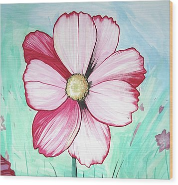 Candy Stripe Cosmos Wood Print