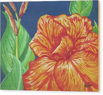 Canna Flower Wood Print by Adam Johnson