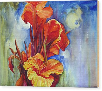 Wood Print featuring the painting Canna Lilies by Priti Lathia