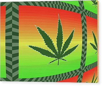 Wood Print featuring the mixed media Cannabis  by Dan Sproul