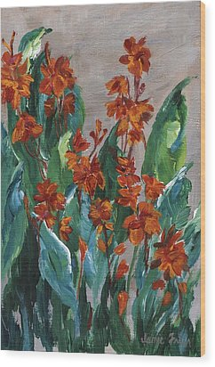 Wood Print featuring the painting Cannas by Jamie Frier