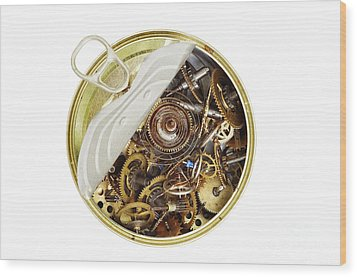 Canned Time - Parts Of Clockwork Mechanism In The Can Wood Print by Michal Boubin