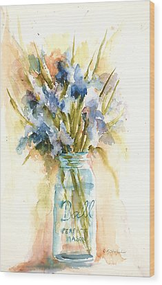Canning Irises Wood Print by Sandra Strohschein