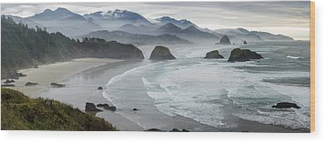 Cannon Beach Oregon Pano Wood Print by Rick Dunnuck
