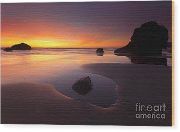 Cannon Beach Sunset Wood Print by Mike  Dawson