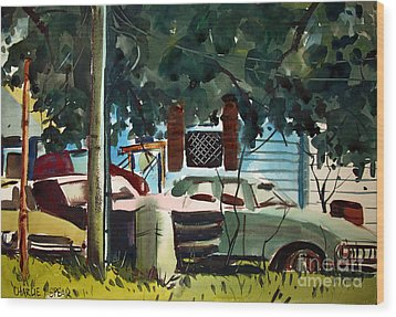 Wood Print featuring the painting Cannus Auto And Used Cars Framed by Charlie Spear