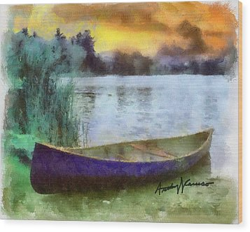 Canoe Wood Print by Anthony Caruso