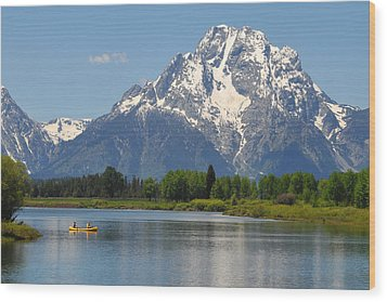 Canoe At Oxbow Bend Wood Print by Alan Lenk