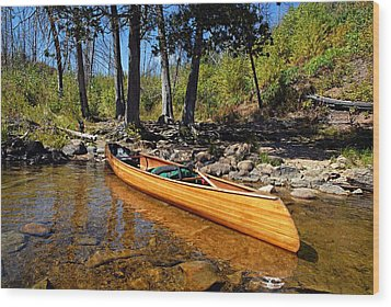 Canoe At Portage Landing Wood Print by Larry Ricker