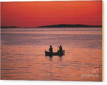 Canoe Fishing Wood Print by John Greim