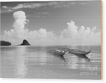 Canoe Landscape - Bw Wood Print by Joss - Printscapes