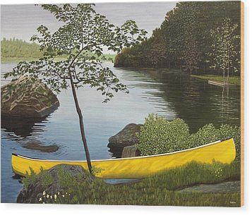 Canoe On The Bay Wood Print by Kenneth M  Kirsch