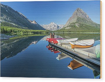 Canoe Reflections Wood Print
