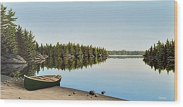 Canoe The Massassauga Wood Print by Kenneth M  Kirsch