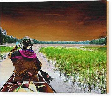 Canoe Trip Wood Print by Peter  McIntosh