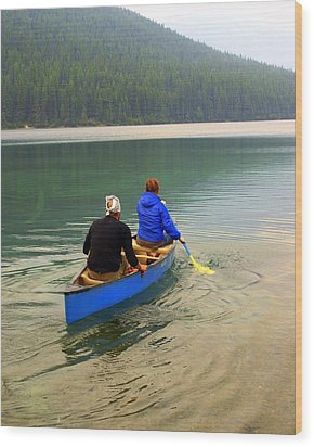 Canoeing Glacier Park Wood Print by Marty Koch