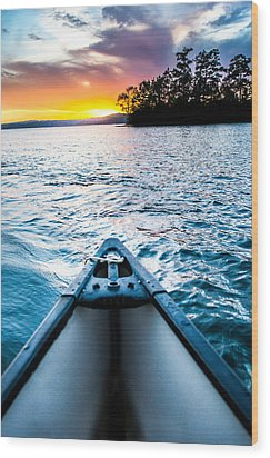 Canoeing In Paradise Wood Print by Parker Cunningham