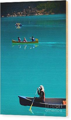 Canoeing On Glaciel Waters Wood Print