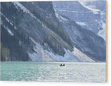 Canoeing On Lake Louise Wood Print