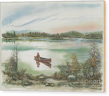 Canoeing On The Lake Wood Print by Samuel Showman